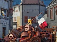 Enjolras (The War Between Four Walls) (W. Navarre) Tags: les miserables war between four walls flag french revolution rebellion july scene alllego lego roof house