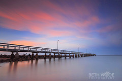 Pink Twilight (Beth Wode Photography) Tags: sunset reversesunset dusk twilight sunsetclouds clouds pinkclouds reflections jetty pier wellingtonpointjetty wellingtonpoint redlands beth wode bethwode