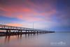 Pink Twilight (Beth Wode Photography) Tags: sunset reversesunset dusk twilight sunsetclouds clouds pinkclouds reflections jetty pier wellingtonpointjetty wellingtonpoint redlands beth wode bethwode