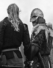 Brothers and sisters in arms (wouters.eddy) Tags: monochrome white black blackandwhite portrait viking lagertha foteviken sweden scandinavia history