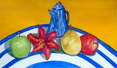 Still life, by Vania C. - DSC03133-002 (Dona Minúcia) Tags: art painting watercolor study paper stilllife kettle fruit table apple pear flower arte pintura aquarela mesa fruta food comida alimento bule maçã pera flor
