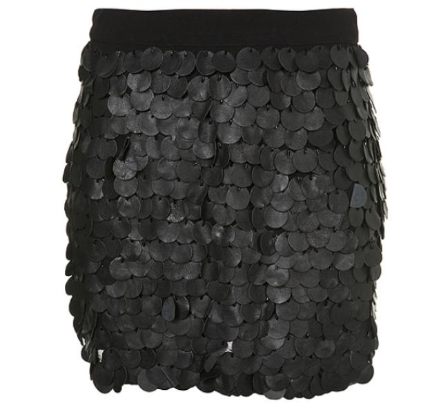 TopShop Leather sequin skirt