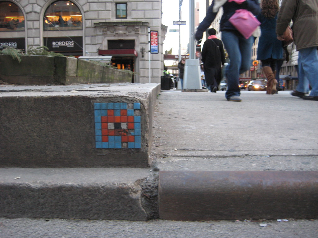 Space Invaders Video Game Like Graffiti Wall Tile 2339