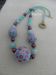 collier boule (marinabead) Tags: collier necklace beads bijoux bead peyote beaded perle rocaille delicas rocailles