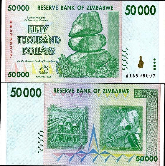 50 000 dolárov Zimbabwe 2008