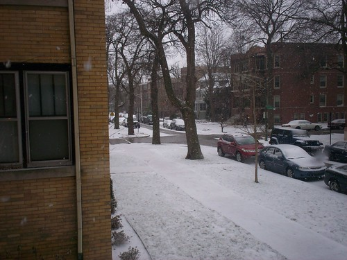 the snow outside e & f's apartment