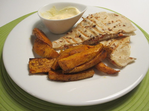 Chicken, goat cheese and rosted peppers quesadillas, chili-cumin roasted sweet potato, spicy mayo