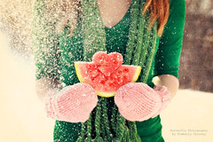 Winter   W A T E R M E L O N (Kimberly Chorney) Tags: winter snow green texture scarf heart naturallight watermelon pinkmitts