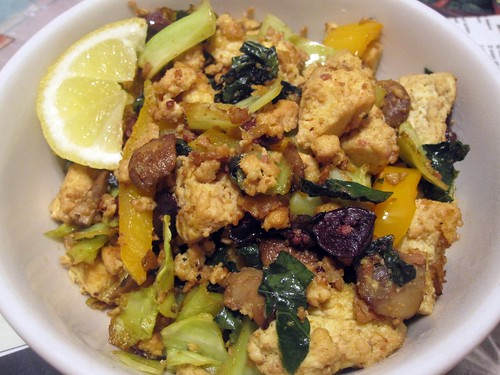 olive, lemon veggie scramble