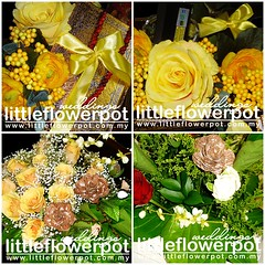 hantaran bunga artificial kuning 2