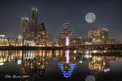 Austin Skyline with Moon (Ellen Yeates) Tags: light moon color reflection building water colors skyline night austin river dark gold bride ellen downtown gallery texas edited best fullmoon hdr topaz austinskyline yeates bestcapturesaoi elitegalleryaoi mygearandmepremium mygearandmebronze mygearandmesilver tplringexcellence