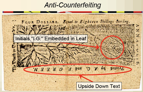 Maryland colonial currency anti-counterfeiting