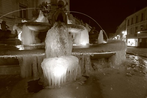 Frozen fountain in downtown Charleville-Mezieres...