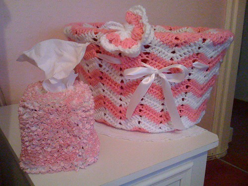 Crocheted Boudoir Basket and Crocheted Tissue Box Cover.