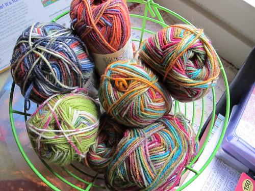 A basket of fun sock yarn