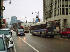 Southbound CTA bus approaching the intersection of North Clark Street and West Fullerton Avenue. Chicago Illinois. December 2007.