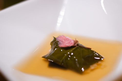 Sea bream wrapped sticky rice with Cherry Leaf and Miso Sauce