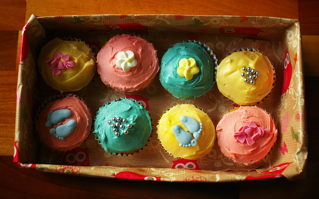 Pretty baby cupcakes in a homemade box