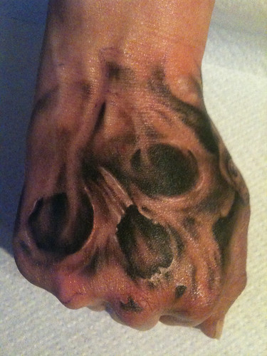 Demon Hand Tattoo by stae01. Hand tattoo demon black and grey
