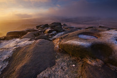 Carl Wark in Mist (andy_AHG) Tags: greatbritain winter wild england mist cold ice rural sunrise landscape outdoors countryside rocks frost britain heather peakdistrict earlymorning scenic moors british pennines darkpeak southyorkshire higgertor nikond200 burbagevalley hathersagemoor