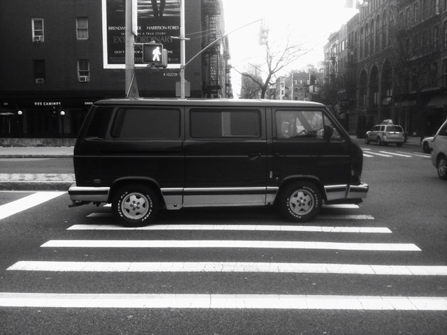 van guy parked on the crosswalk #walkingtoworktoday