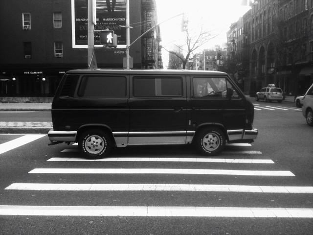van guy parked on the crosswalk #walkingtoworktoday