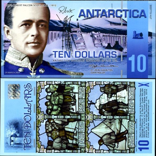 10 Dolárov Antarktída 2009, polymer