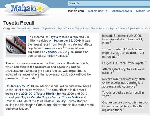 Toyota Recall On Mahalo