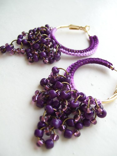 Purple crocheted hoops