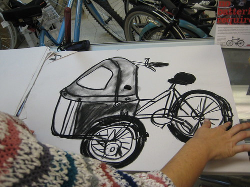 A chalk drawing, by Veronica Jargui, of a Nihola cargo trike featured this monht at Flying Pigeon LA.