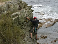 learning to lead on Scottish sea cliffs