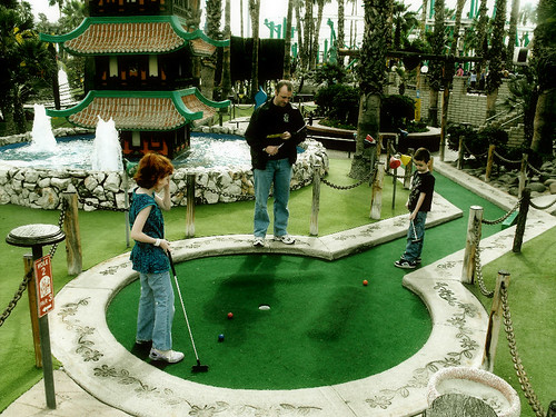 Having fun at Mini Golf