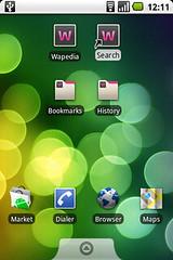 Wapedia on the Android Homescreen