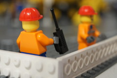 Lego People Working (chriotte) Tags: city red people orange man brick hat car town phone lego jobs sony hard christopher cell plate worker job phot menn oransje photgrapher a55 mennesker legotown legocity factoryworkers legowork