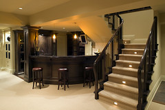 Basement renovation - Add a wet bar (Superior Remodeling) Tags: lighting new wood house home kitchen lamp architecture modern bar stairs floors buildings relax carpet lights franklin