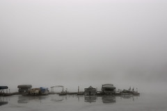 Dock (LeStrosPhotos) Tags: winter usa mist lake reflection ice water misty fog boats grey boat frozen dock ramp peace empty foggy peaceful calm reflect cover lonely motor docked tranquil in noblesvillemorselake