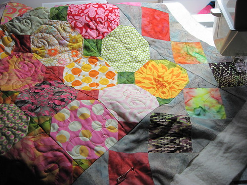 progress on quilting; snow ball quilt