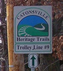 Catonsville Heritage Trails bicycle sign