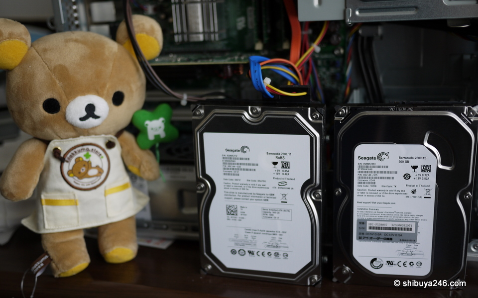Rilakkuma inspecting the new disk sitting alongside the old one, and asking me why did I buy the same brand of disk that just broke.