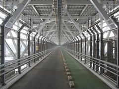 2521 Over the Bridge - Under the Road (mari-ten) Tags: bridge japan cycling tunnel hiroshima walkway  2008 onomichi eastasia shimanami   18  200804  20080402 innoshimabridge seishun18travel