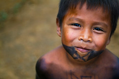 The Boys (Universal Stopping Point) Tags: boy cute smile tattoo kid village child smirk panama facepaint temporary facial indigenouspeople snottynose emberatribe emberachildren chagrasnationalpark centralamericanindians emberaboy