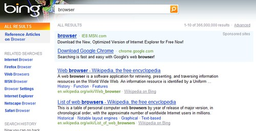 Googl e Advertises On Browser At Bing