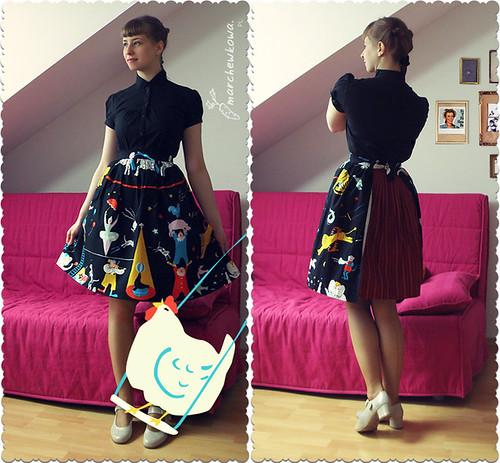 A perfect housewife, szycie, fartuszek, lata 50, tkanina w cyrk, materiał
