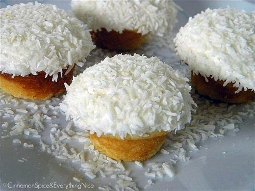 Vanilla Coconut Snowball Cupcakes w/ Sour Cream Frosting