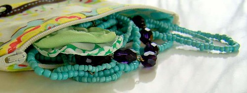 Turquoise jewelry in zipper pouch