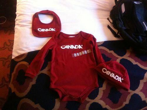 Mega thanks to @johnbiehler for the Team Canada onesie for Jackson!