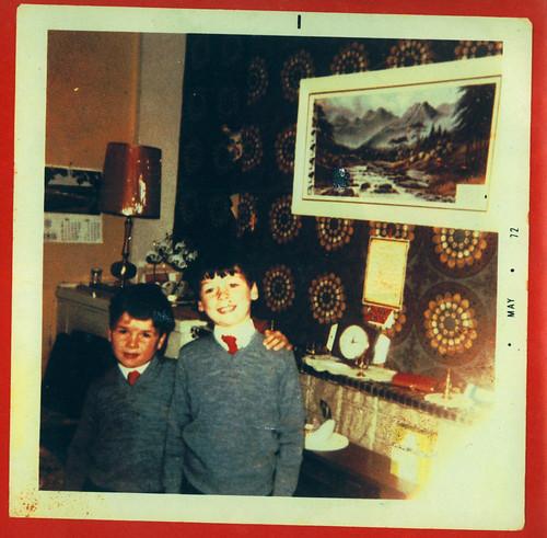 Charlie and Jamie Tracey, Garthamlock, May 1972.