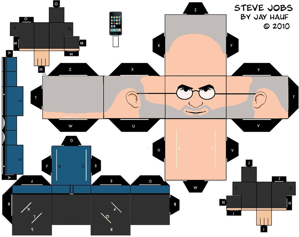 По этим схемам, вооружившись ножницами и клеем, можно сделать бумажного Стива Джобса.
