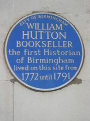 Photo of William Hutton blue plaque