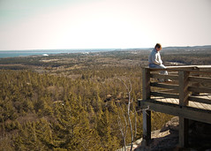 heavenisoverrated (tinyearthquakes) Tags: trees sky mountain sunglasses forest march spring view top michigan lookout sugarloaf kirsten marquette favoriteplaceinthewholeworld
